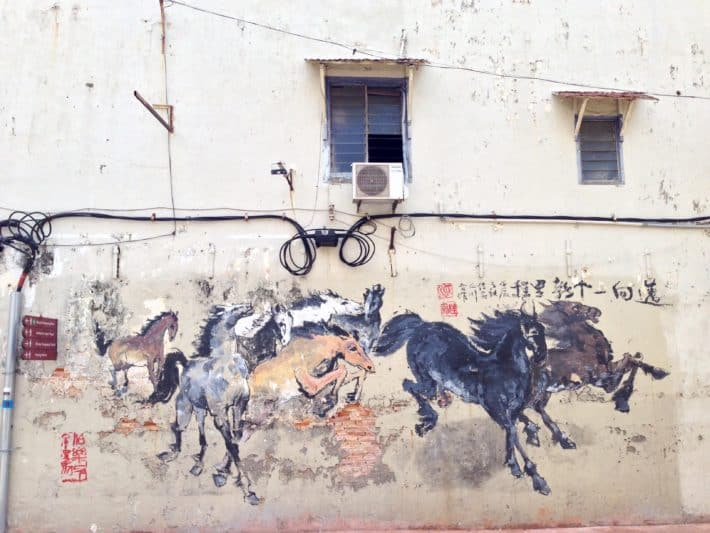 Streetart, Pferde auf Hauswand in Malaysia, Melaka