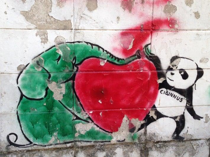 Streetart Chiang Mai, Panda, Herz und Elefant