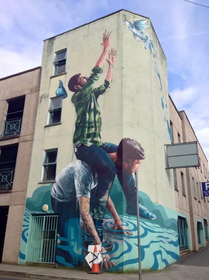Streetart, komplette Hausfassade, Limerock, Irland