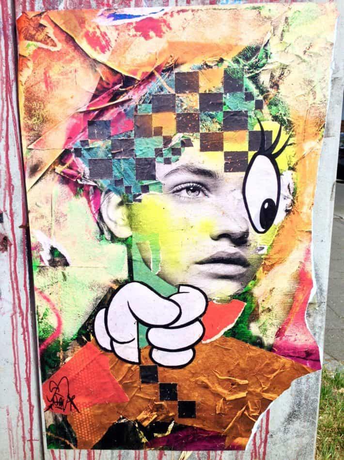 Street Art, Kopf, Bunt, Auge und Hand im Comicstyle, Portrait