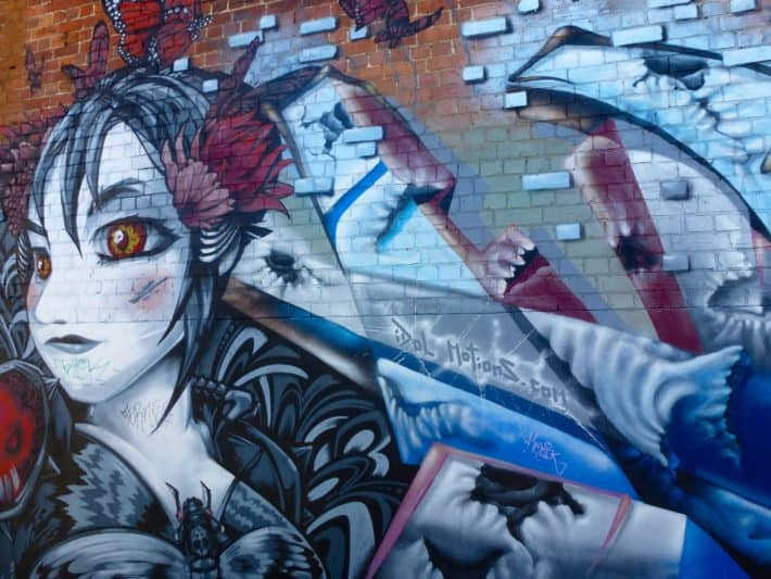 Manga Style blau rot Töne Street Art