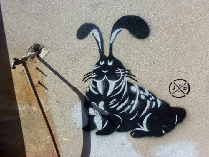Streetart, Melbourne, Walross, Wasserhahn, schwarz, weiß