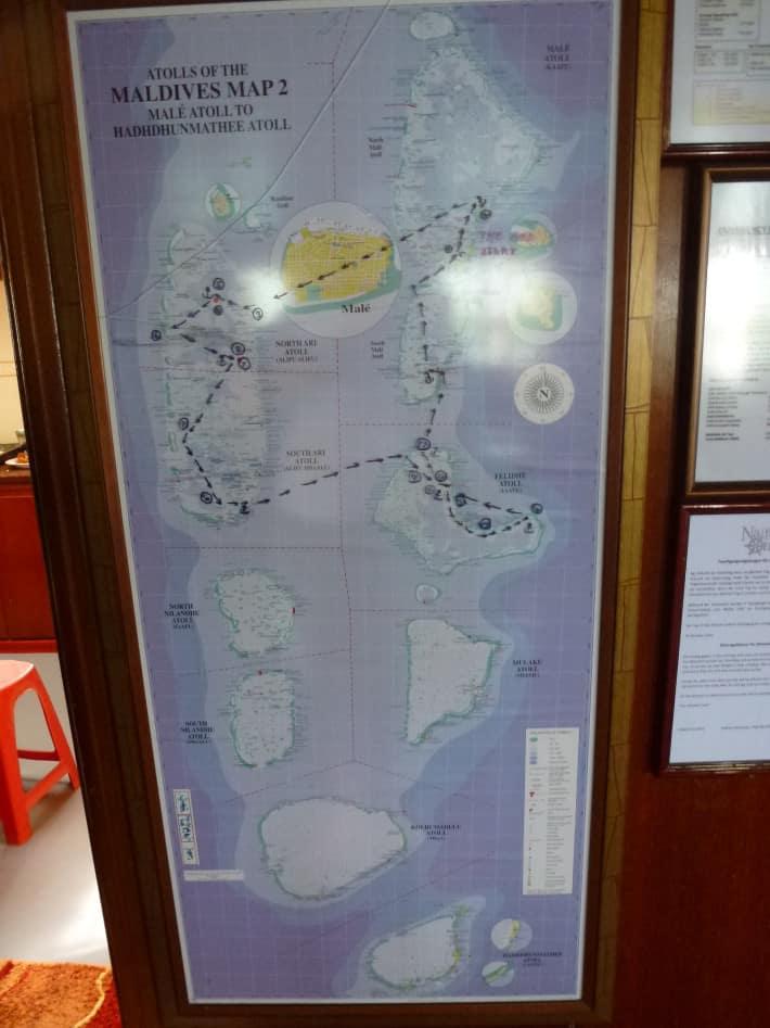 Karte Tauchreviere Maldevien