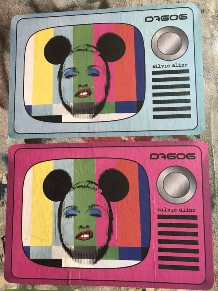 Streetart, Modern Art, Madonna als Micky Maus, Micky Mouse, Fernseher, Testbild, bunt