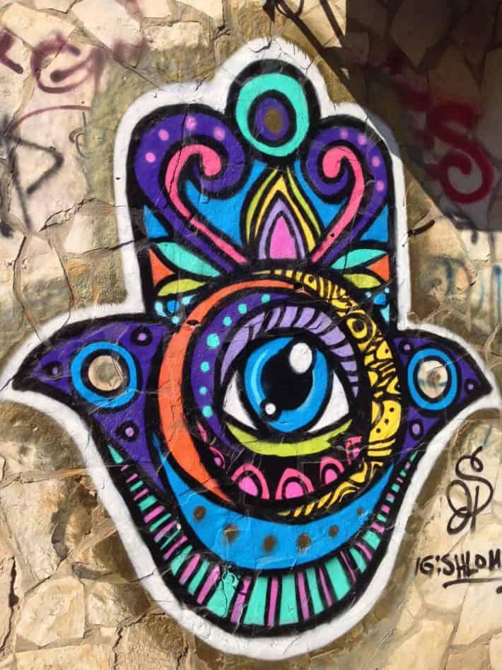 Streetart, Auge der Fatima, bunt, schön, Tel Aviv