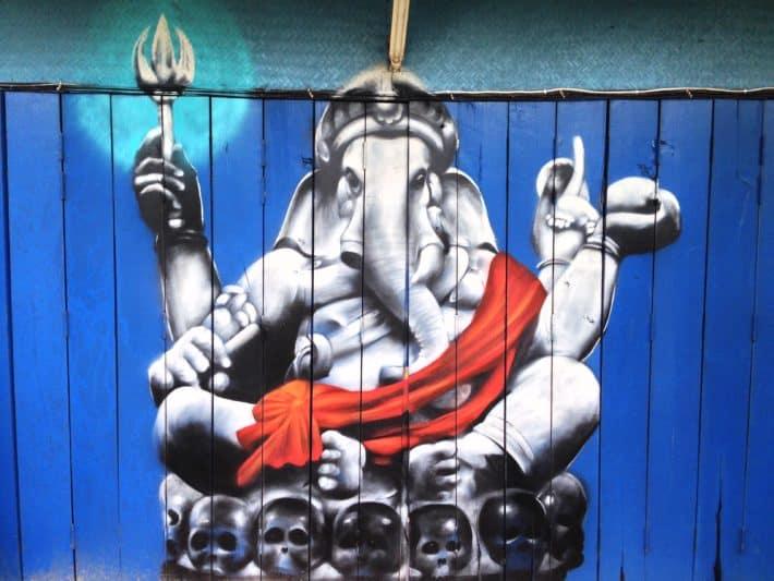 Streetart, Koh Lanta, Thaland, Ganesha auf Garagentor