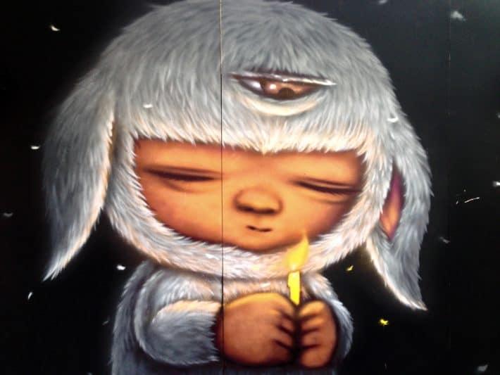 Streetart März 2017, Thailand,Bangkok, Trauer, Kerze, Rama IV