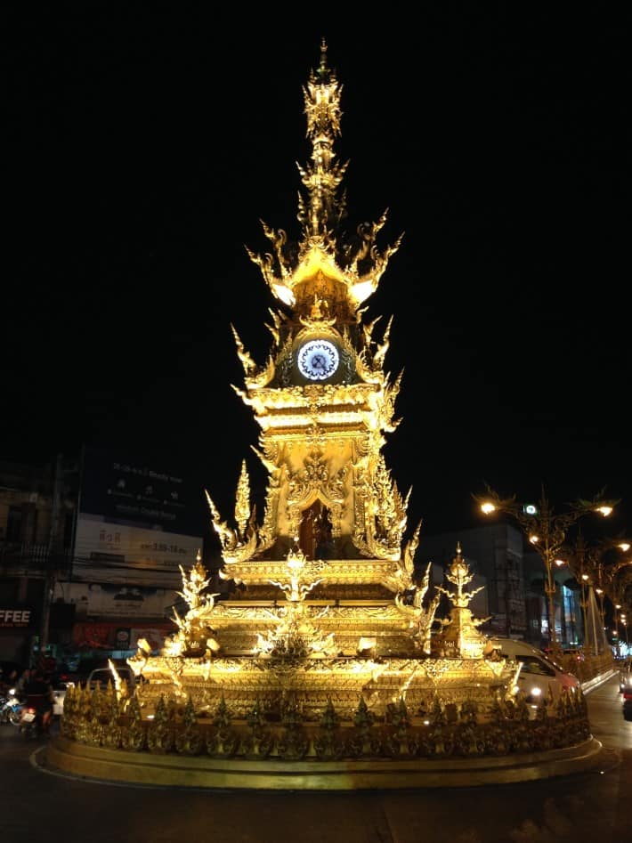 Clock Tower in Chiang Rai am Abend
