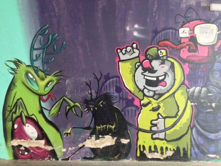 Streetart, Juni 2017, Berlin, Cartoon, Nähe Potsdamer Platz