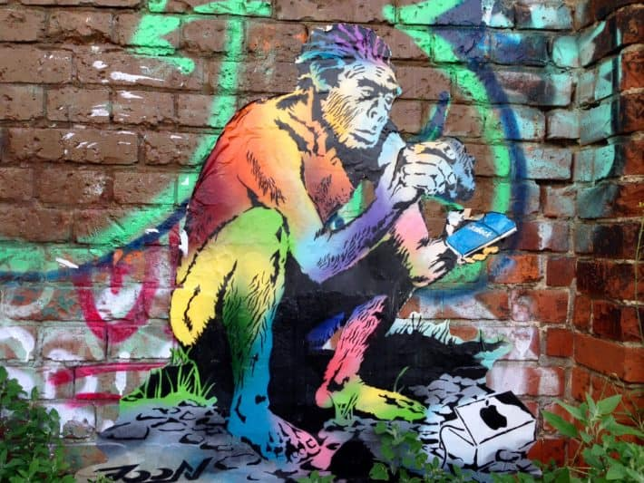 Streetart, Affe, Apple, bunt, Digitale Welt