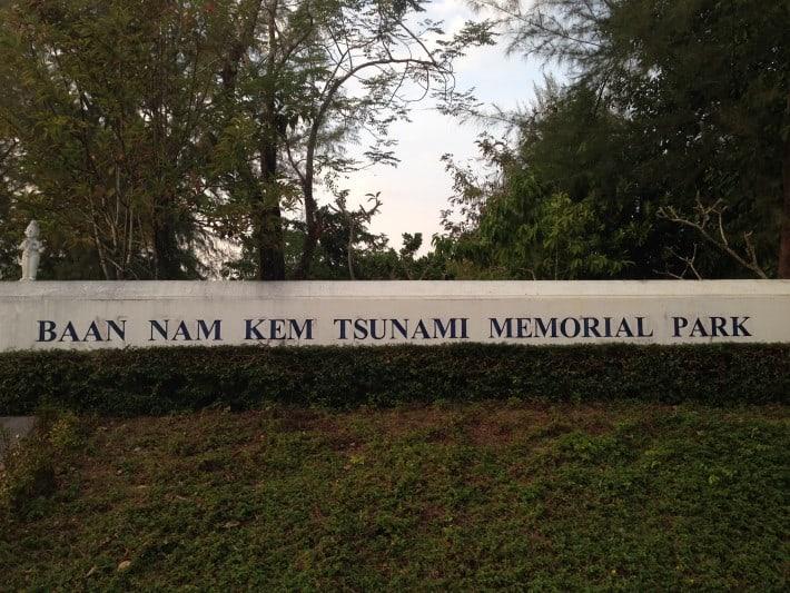 Schild memorial Park Tsunami