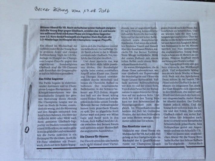 Champions League : Bericht Berner Zeitung