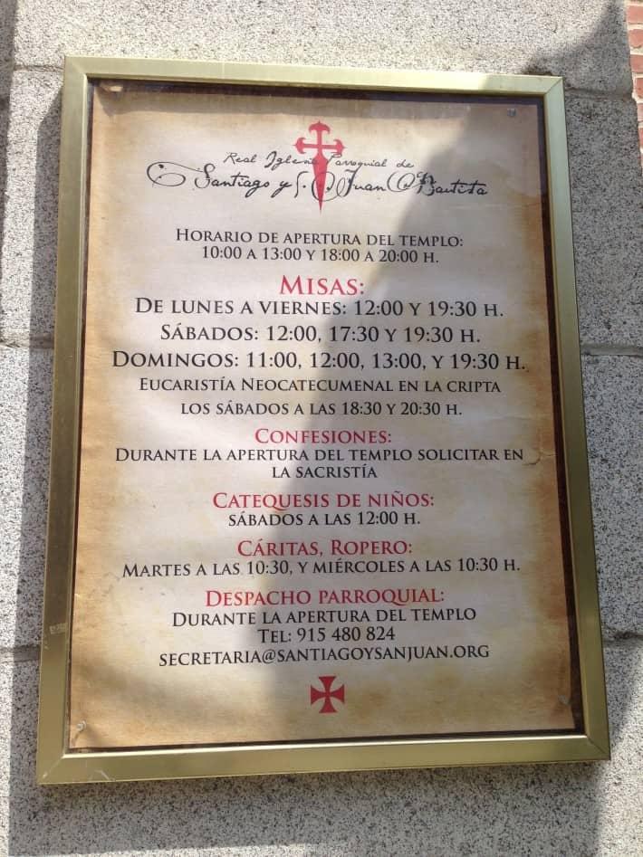 Öffnungszeiten der Jakobus Kirche in Madrid