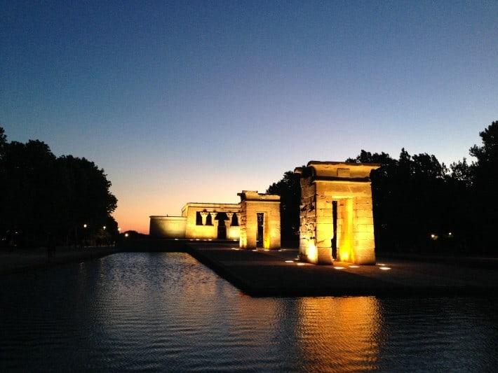 Tempel in Madrid im Sonnenuntergang