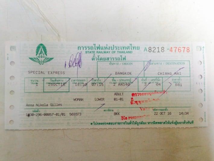 Ticket Nachtzug Bangkok- Chiang Mai