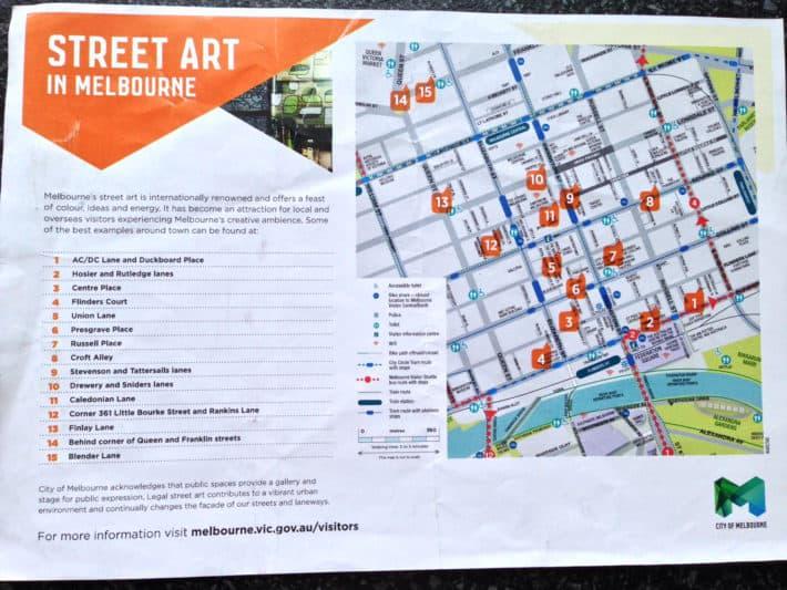 Melbourne Streetart Karte