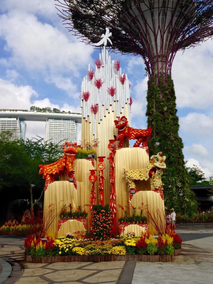Chinese New Yaer in Singapur, Pflanzen Grüße im Gardens by the bay