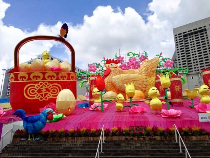 Chinese New Year, Feuer-Hahn. Küken, Singapur, Bunt