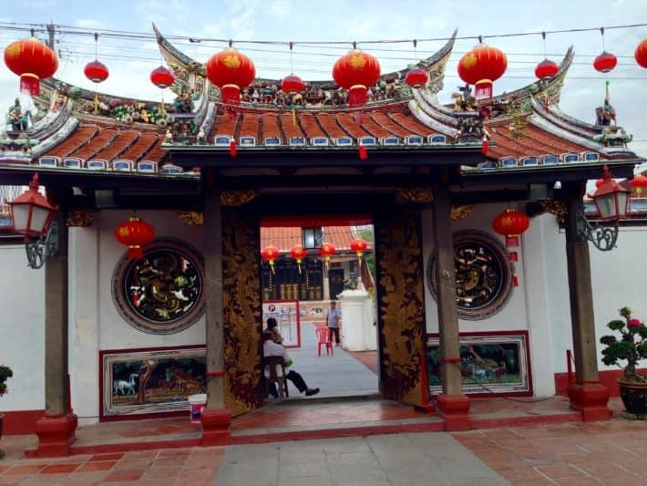 Cinese New Year, Melaka, Tempel, rot, Lampions
