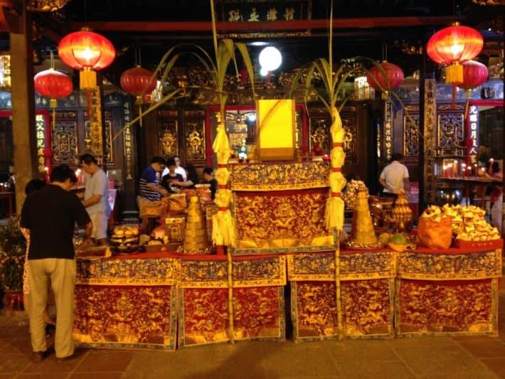 Chinese New Year, Melaka, Temepel, geschmückt, gold, rot,