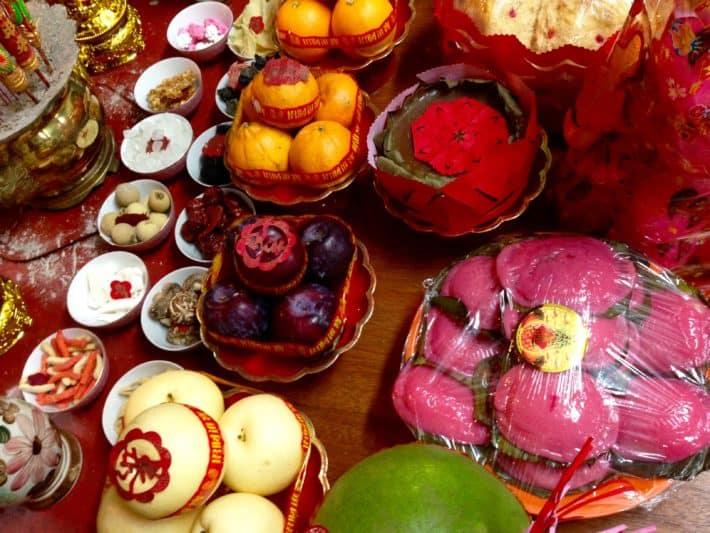 Gaben, Chinese New Year, Melaka, Feuer-Hahn, Obst, Gemüse, Götter