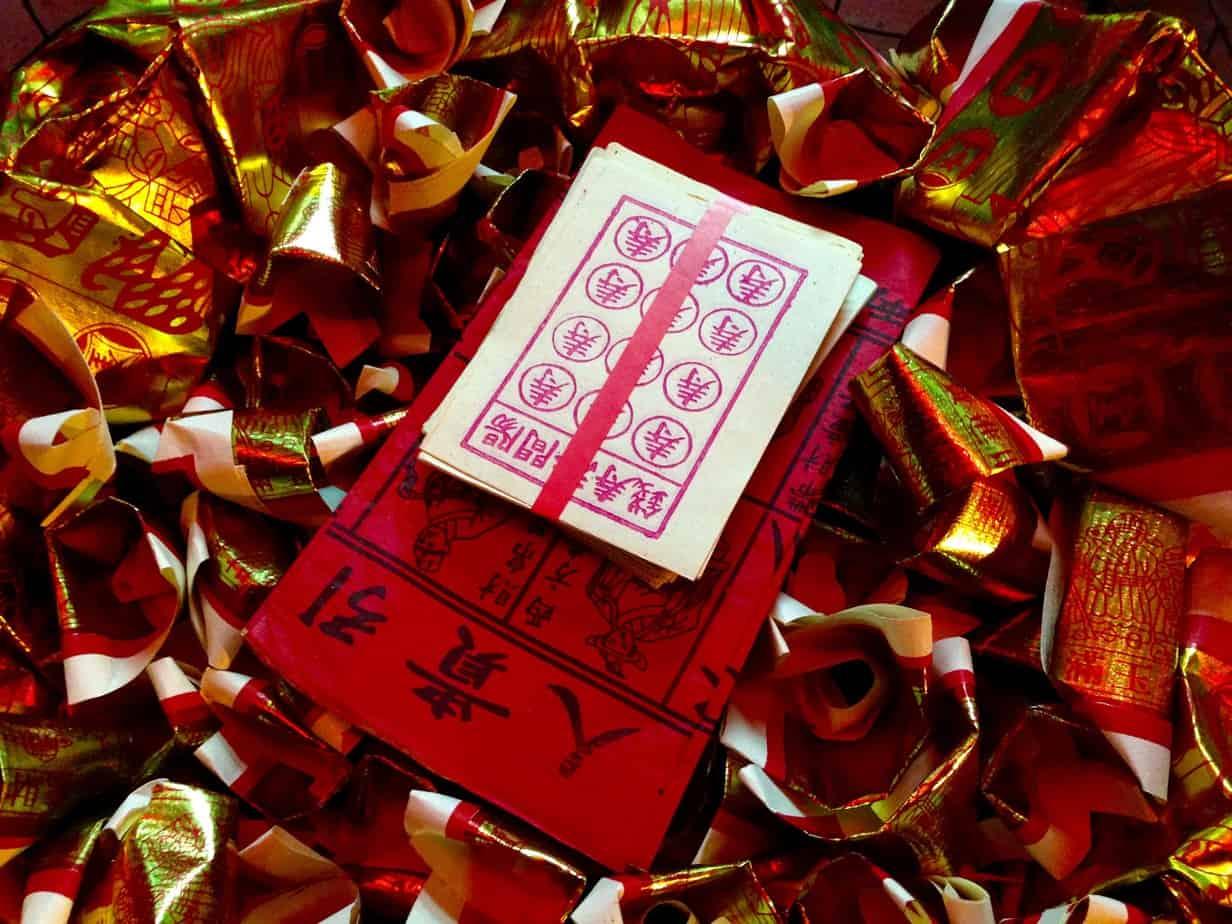 Papier, gold, rot, Chinese New Year, Melaka, Opfergabe