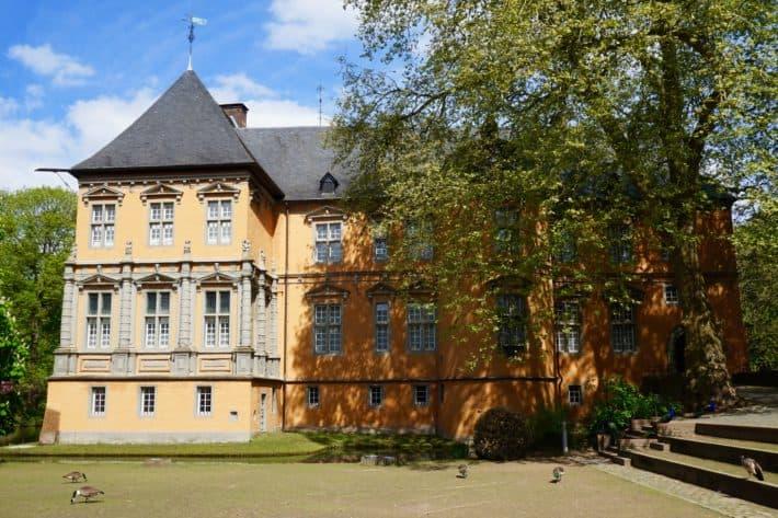 Schloss Rheydt in Mönchengladbach, anderes Gebäude, Baum, Blauer Himmel