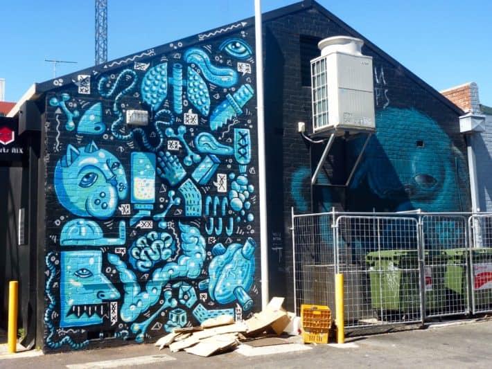 Streetart Perth, blau, weiß, blauer Himmel, Katze, Organe
