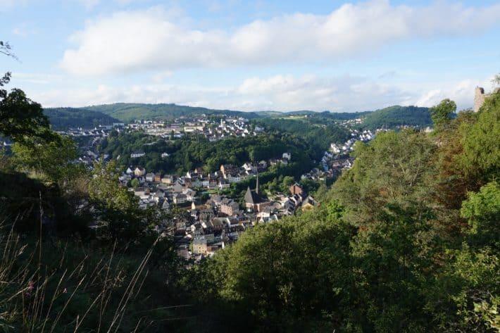Hildegard von Bingen Pilgerwanderweg, Aussicht auf Idar Oberstein von oben