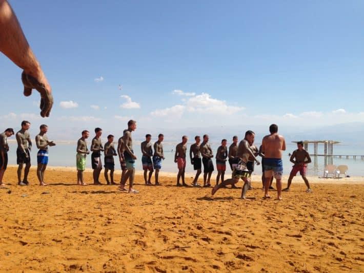 Schuppenflechte, Totes Meer, Tagestouristen am Strand