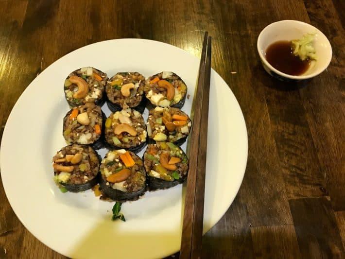 vegane Sushi, vegetraische Sushi, Chiang Mai