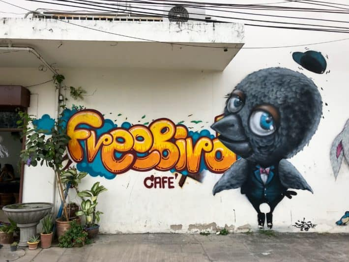 vegetarisch, vegan, Eingang, Freebird Cafe, Chiang Mai