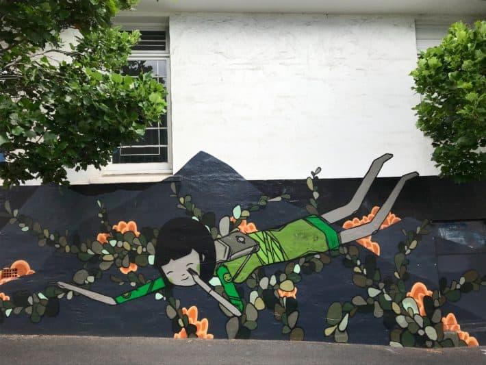 Streetart, Tasmanien, Hobart, asiatisches Motiv