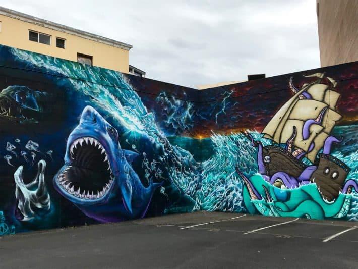 Streetart Unterwasserwelt Boot, weißer Hai, Tasmanien, Tasmania, Hobart, Urban Art Walls