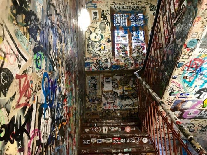 Treppenhaus, Haus Schwarzenberg, Streetart, Sticker, Tags, Sprayart