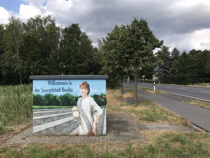 Beelitz, Ortseingang Beelitz, Spargelstadt, 3. Etappe Via Imperii